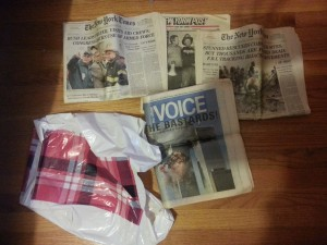 A kickback to my conspiracy theorist days.  Somehow I thought I could preserve history by saving a few old newspapers dating Sep13-15 2001.