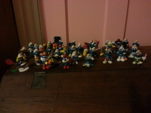 My brother's collection of Smurfs.