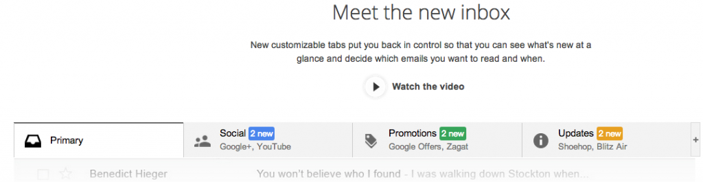 New default categories from Google to presort your email.