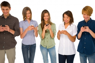 Teenagers Reading Sms