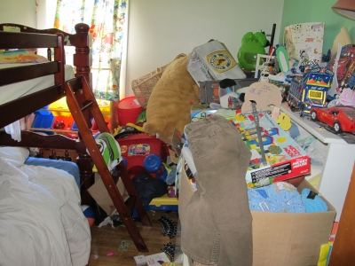 Cluttered bedroom.  How do you know what you have?