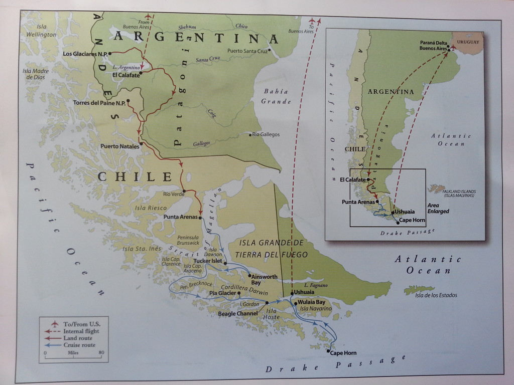 Map of the route we took through Patagonia.  Lines in red denote land travel, while those in blue are for the cruise.
