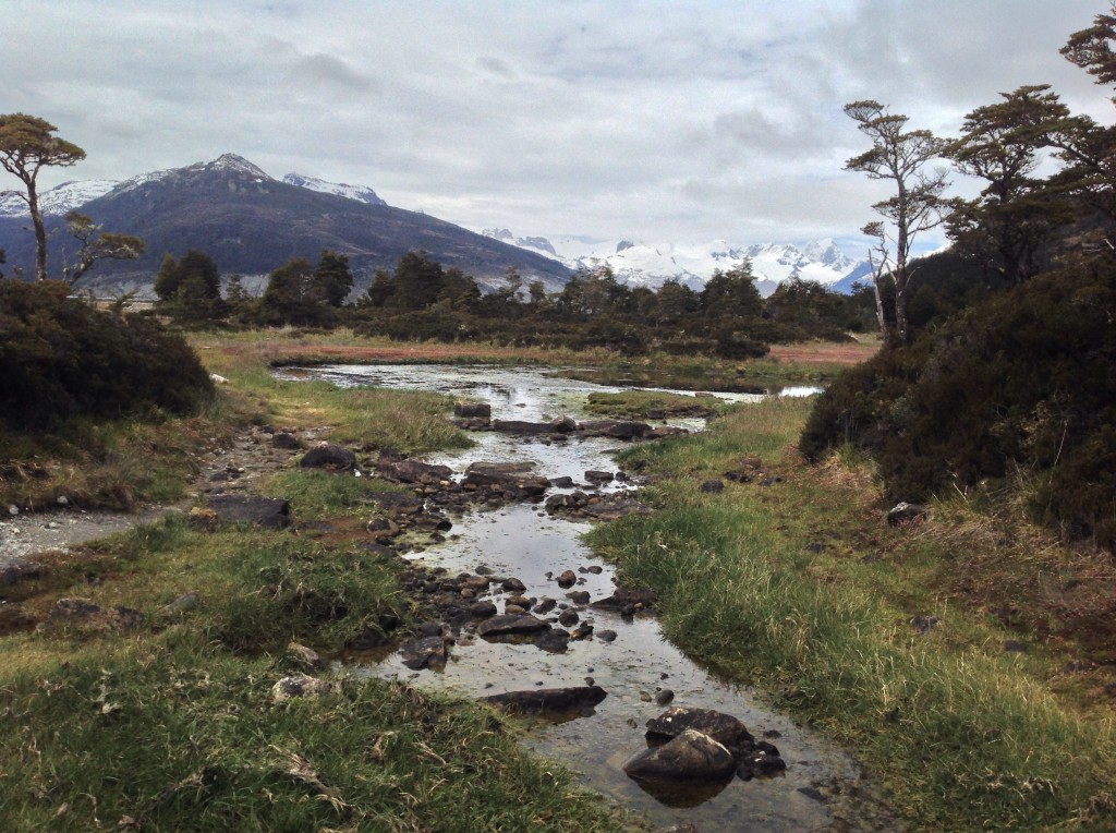 Stream and mountain view at Ainsworth Bay.