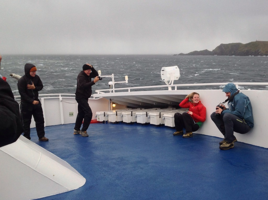 Fellow passengers having an adventure at Cape Horn.
