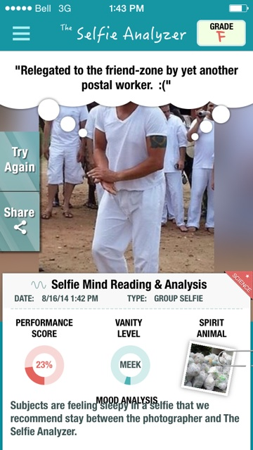 Selfie Analyzed of my friend's ex-boyfriend.