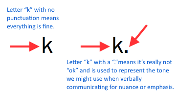 What does k stand for in texting