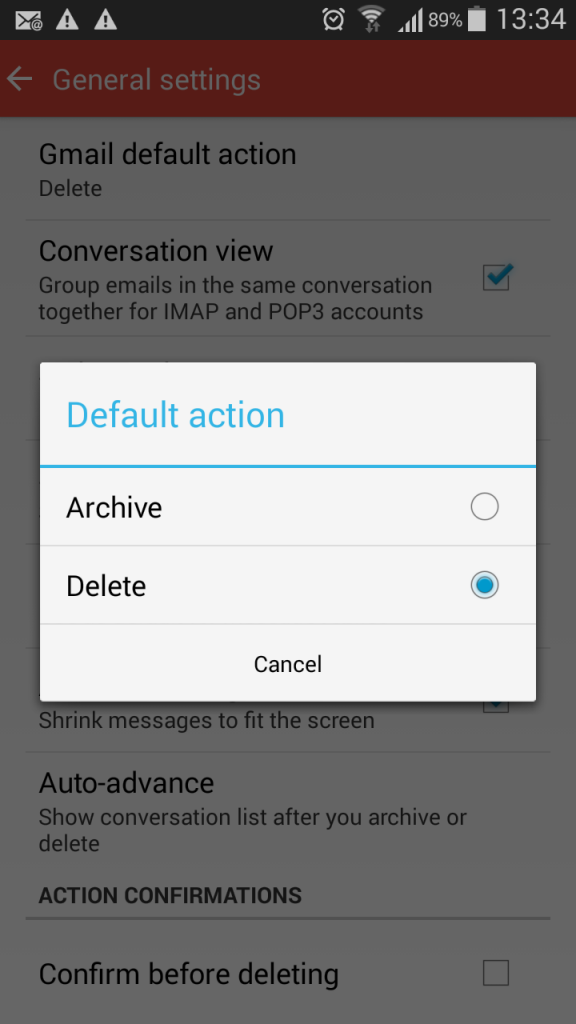 Option to select Archive or Delete as the default swipe action.