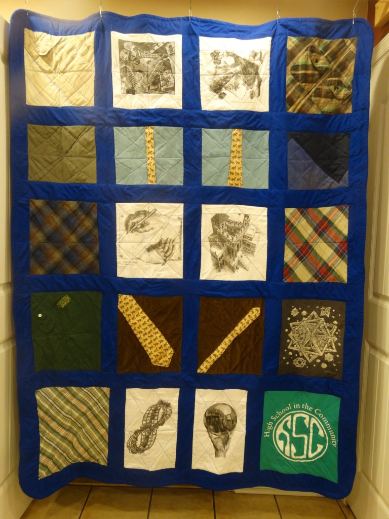 My memory quilt. Royal blue was one of my father's favorite colors.